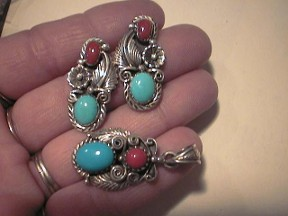 Jabberjewelry.com Silver Turquoise & Coral Earrings & Pendant Set