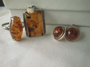 Jabberjewelry.com Amber & Silver Ring Earrings Pendant Set