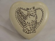 Jabberjewelry.com Vintage Cat Heart Wooden Musical jewelry Trinket Box