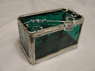 Silver & Green Glass & Mirror Jewelry Trinket Box