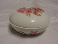 Vintage Pink Flower Round Jewelry Trinket Box