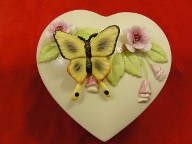 Vintage Butterfly Heart Trinket Box