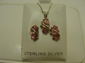 Jabberjewelry.com Vintage Avon Pink Ice Silver Pendant & Earrings