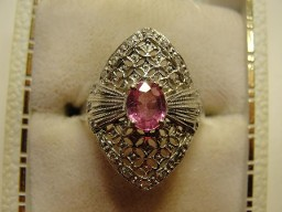 Jabberjewelry.com Pink Sapphire Diamond Shield White Gold Ring