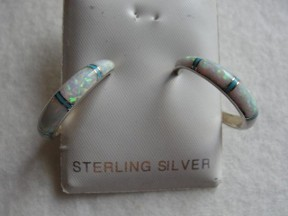 Jabberjewelry.com Inlaid Opal Turquoise Hoop Silver Earrings