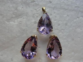 Genuine Amethyst Gold Pendant Earrings Set