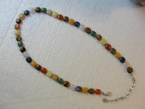 Jabberjewelry.com Multi Genuine Gemstone Silver Necklace