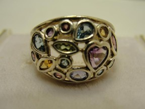 Jabberjewelry.com Multi Cuts Gemstone Silver Ring