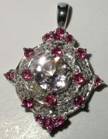 Jabberjewelry.com White Gold Multi Gemstone Diamond Pendant