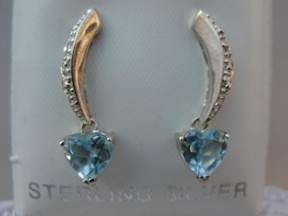 Jabberjewelry.com Blue Topaz Hearts Diamond Accent Silver Earrings