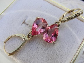 Jabberjewelry.com Pear Pink Topaz 14kt Yellow Gold Earrings