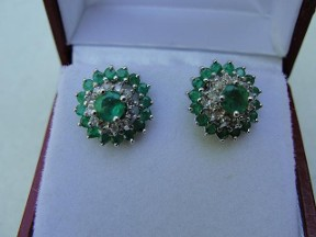 Jabberjewelry.com Emerald & Diamond Earrings & Jackets White Gold