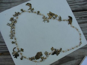 Jabberjewelry.com Vintage Brass Animals Charms Necklace