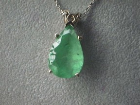 Jabberjewelry.com Large White Gold 8 1/2 Ct's Emerald Pendant