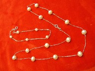Jabberjewelry.com White Gold Tea Cup Pearls Necklace & Bracelet Set