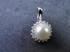 Jabberjewelry.com Diamond & Pearl White Gold  Enhancer Pendant