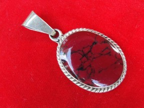 Jabberjewelry.com Vintage Large Silver Red Coral Pendant