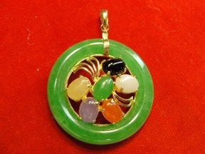 Jabberjewelry.com 14kt Gold Multi Color Jade Circle Pendant Necklace