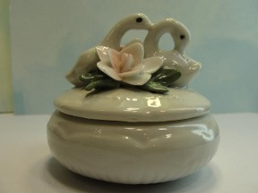 Two Swans & Flowers Trinket Box
