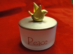Peace Glass & Metal Trinket Box