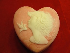 Signature Robert Nometh Cameo Heart Shape Trinket Box
