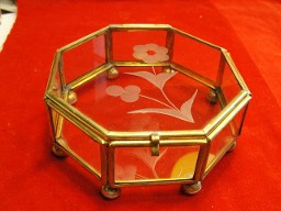 Vintage Glass & Brass Trinket Box Etched Flower