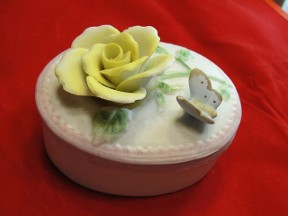 Flower & Butterfly Trinket Box