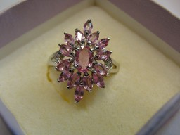 Jabberjewelry.com Natural Pink Sapphires White Gold Ring