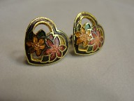 Jabberjewelry.com Vintage Enamel Heart Floral Earrings