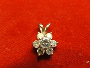 Jabberjewelry.com White Gold Flower Diamond Pendant Necklace
