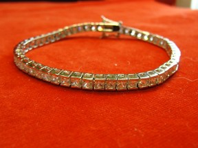 Jabberjewelry.com New Princess Cut CZ Diamond White Gold Bracelet