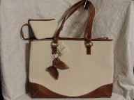 Coldwater Creek Butterfly Two Tone Tote Bag Purse